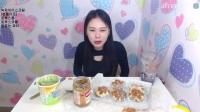 韩国女主播弗朗西斯卡吃播大挑战(绿茶冰淇淋、果酱)直播间2017.3.20