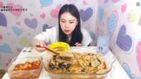 韩国女主播弗朗西斯卡大胃王吃播大挑战(紫菜拌