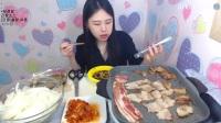 韩国女主播弗朗西斯卡大胃王吃播大挑战(2kg五花
