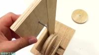 自制小型台式带锯机 木板和马达制作实用木材切割机木工电锯制作