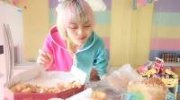 ^吃播大白哥^~米斯特比萨新品(抹茶黄金恋人)+肯德基新品(避风塘脆皮鸡+榴莲蛋挞)+彩虹蛋糕慕斯+面包新语+哈尼泡芙