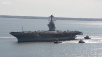 美军训练New $13B Aircraft Carrier USS Gerald R. Ford Moves On Own Power For The