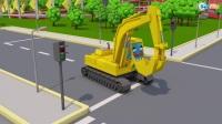 工程车大卡车挖土机  3D动画早教卡通