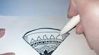创意玩法—休闲解压—堪比《秘密花园》涂色的手绘黑白装饰画