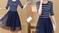 蓬蓬裙子女夏季女生条纹网纱连衣裙便宜韩版公主裙成人中长款甜美