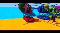 彩色汽车上的直升飞机和蜘蛛侠漫画为孩子们提供超级英雄的漫画!