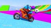 为孩子们学习彩色摩托车蜘蛛侠和超级英雄漫画
