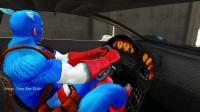 学习颜色警车的编辑w蜘蛛侠汽车卡通儿童和童谣歌曲