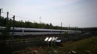 长春轨道客车厂生产的中国标准动车组CR400BF-5002,通过泰安站。