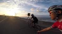 台湾西滨美丽的黄昏、夕阳、公路自行车、GoPro