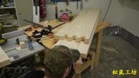 木工打造了一张实木床: 床板设计独特