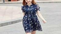 夏季甜美上街,就选印花雪纺连衣裙