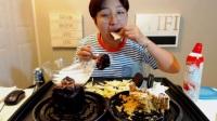 【BEGLE吃播】【合集】大口吃两个蛋糕、奶油培根意面、香蕉蘸酱巧克力、奶油夹心巧克力蛋糕等.