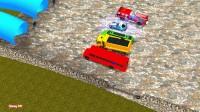 在蜘蛛侠漫画中有更多彩色汽车的消防车和校车