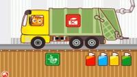 机工作挖掘机表演视频 垃圾回收车 消防员救火