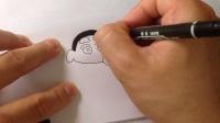 手绘卡通简笔画.怎样画蜡笔小新