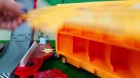 海底小纵队汽车玩具,黄色小车为儿童学习颜色盒歌曲