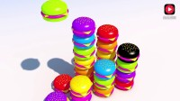 亲子3D颜色和数字学习: 彩色汉堡包数一数