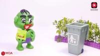 橡皮泥趣动画: 小绿巨人的手受伤了