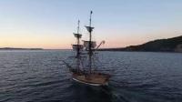 航拍复古帆船扬帆航行乘风破浪《5738》4K