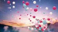 L2247-感恩的心 蓝天白云 气球 彩云 浪漫 LED大屏晚会舞台背景视频素材