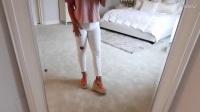 粉色宽松上衣搭配紧身牛仔裤, 时尚显瘦_高清