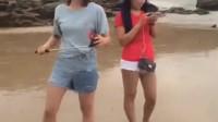 美女洞头沙滩发骚,太6666了