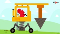 小老鼠驾驶着挖掘机在沙滩上面捡蔬菜和水果,开心极了的小老鼠