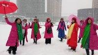 2018年谷城大雪,美女走秀汉江湿地