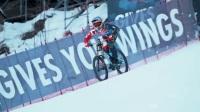 见过有钉子轮的山地自行车在滑雪道以时速 103 公里飙速骑行吗?