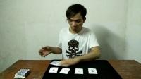 四张杂牌在魔术师手里神奇变成四个A,一分钟学超酷的魔术