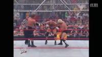 [解说]WWE赛 钢铁牢笼战神高柏一打三VS进化军团HHH 兰迪 瑞克弗莱尔