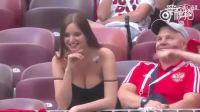 文明管球!看台上的一名丹麦女球迷!