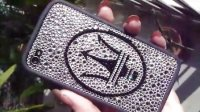 施华洛世奇水晶手机壳 iphone 4代 玛莎拉蒂logo定制