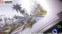 带线稿的景观马克笔上色-郭伟小区会所环境手绘
