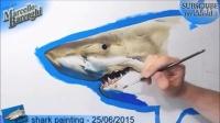 【藤缠楼】意大利立体画家手绘鲨鱼3D画 [Marcello Barenghi]