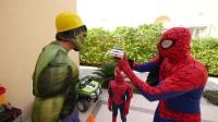 汽车警察玩具蜘蛛侠,绿巨人和冷冻 蜘蛛侠卡通
