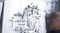 杨建 哥特式建筑风景手绘示范