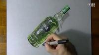 意大利立体画家 彩色铅笔手绘 一瓶伏加特酒3D画  标清写实