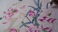 庆祝建国65周年油笔彩铅画《一鹭莲升》