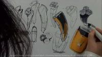 刮胡刀创意设计手绘方案表达