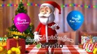 圣诞快乐三维卡通圣诞老人圣诞节问候祝语AE模板