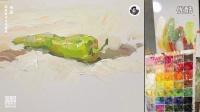「国君美术」朱友色彩静物教学视频_长青椒_单体_水果_学画画