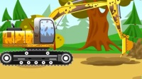 儿童挖掘机工作视频表演动漫 挖掘机植树 寻宝 挖掘机挖破水管,汽车街道被淹