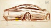 如何绘制汽车后45度手绘效果图