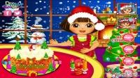 爱探险的朵拉 朵拉制作圣诞节蛋糕 圣诞美食派对 游戏殿堂 4399小游戏