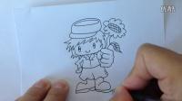 金龙手绘:轻松画卡通--拿向日葵的小男孩