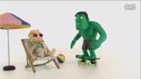 安娜化妆沙龙    艾莎在沙滩上晒太阳,遇上绿巨人搞恶作剧